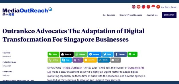 Outrankco Advocates The Adaptation of Digital Transformation For Singapore Businesses